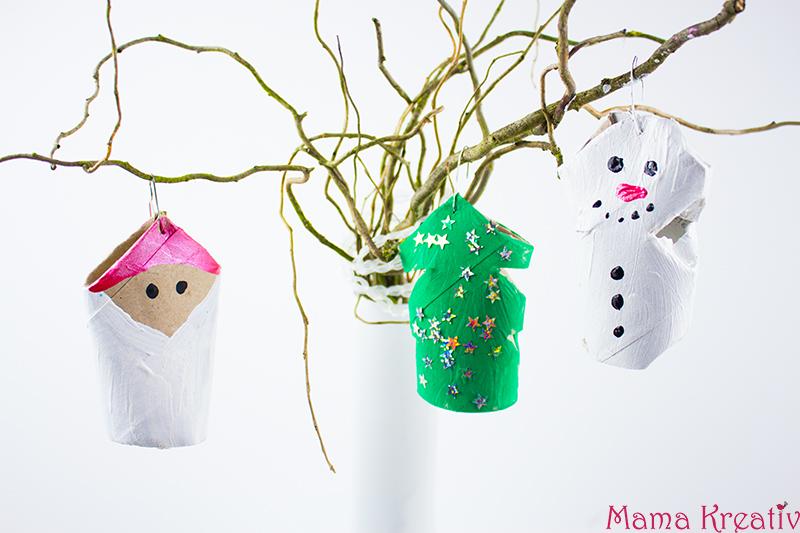 Weihnachtsbaumschmuck basteln aus Klorollen