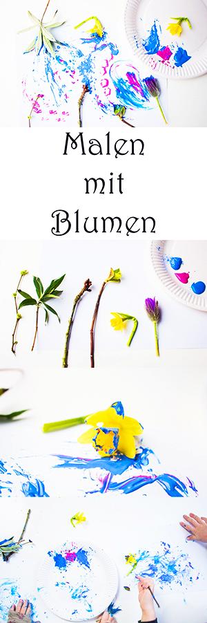 Malen im Frühling mit Kindern - malen mit frischen Blumen #basteln #bastelnmitkindern #malen #malenmitkindern #kinder #kindergarten