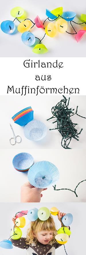 DIY Fasching Deko Basteln mit Kindern - Girlande aus Muffinförmchen