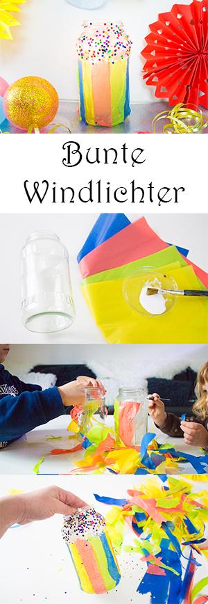 DIY Fasching Deko Basteln mit Kindern - bunte Windlichter basteln