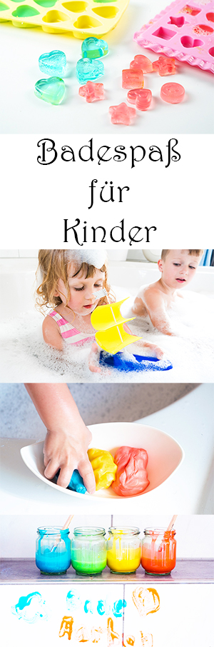 Badespaß für Kinder - Spiele für Kinder für die Badewanne selber machen - DIY Dusch Jelly, Knetseife Badefarben, Piratenschiff basteln