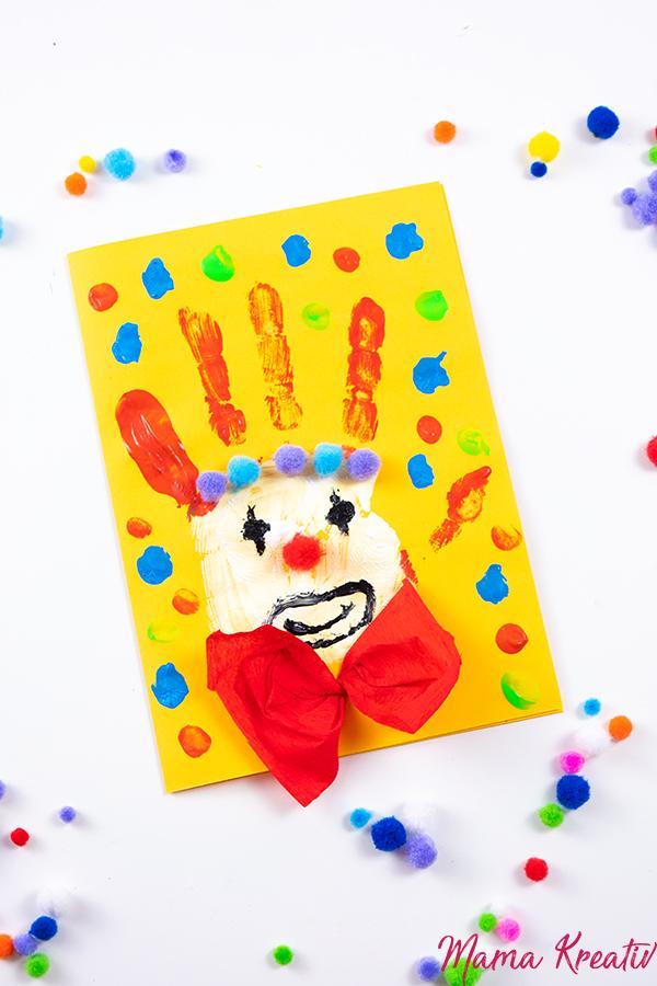 Basteln Fasching - Clown aus Handabdruck basteln - Spiele und Bastelideen für Fasching - Basteln mit Kindern - DIY Spiele selber machen