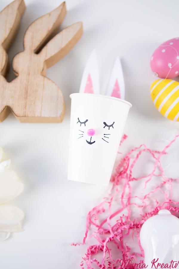 Osternest basteln Hase aus Pappbechern - 4 einfache Upcycling Ideen zum basteln mit Kindern und Kleinkindern