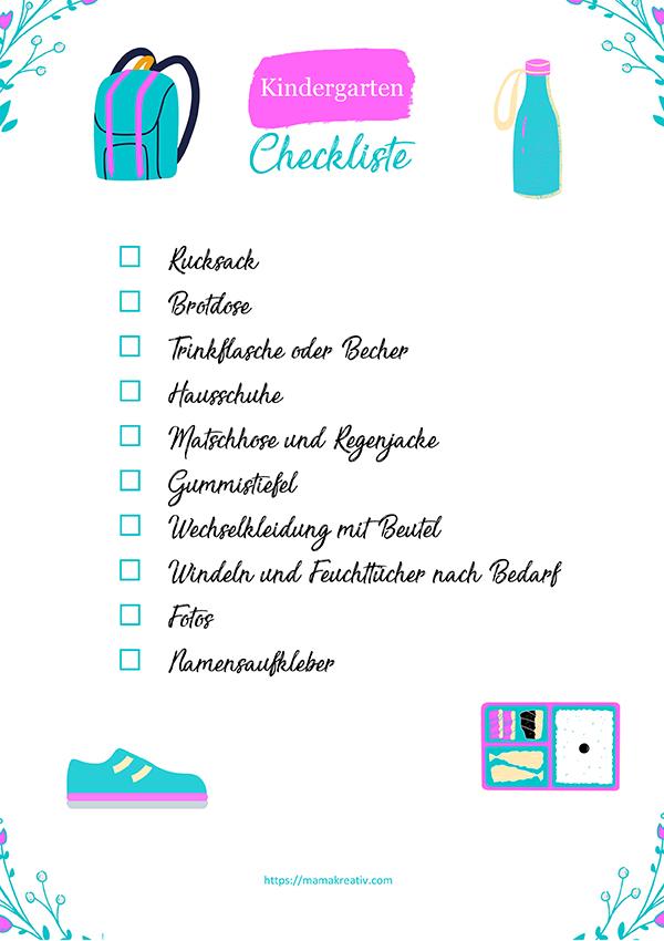 Kindergarten Checkliste Must-Haves: was braucht mein Kind für den Kindergarten - Kindergarten Tipps Rucksack Brotdose Trinkflasche Kleidung Erfahrungen
