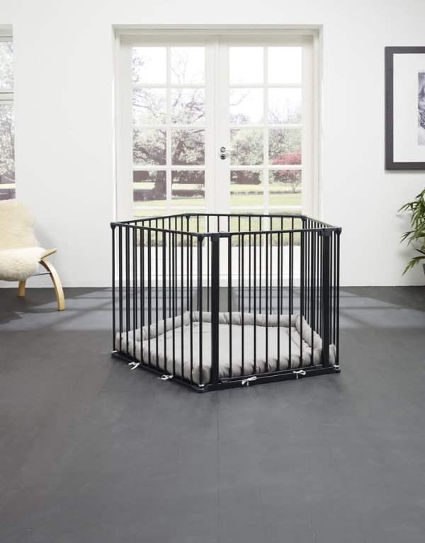 Baby Dan metalinė tvorelė - maniežas su čiužiniu, Black