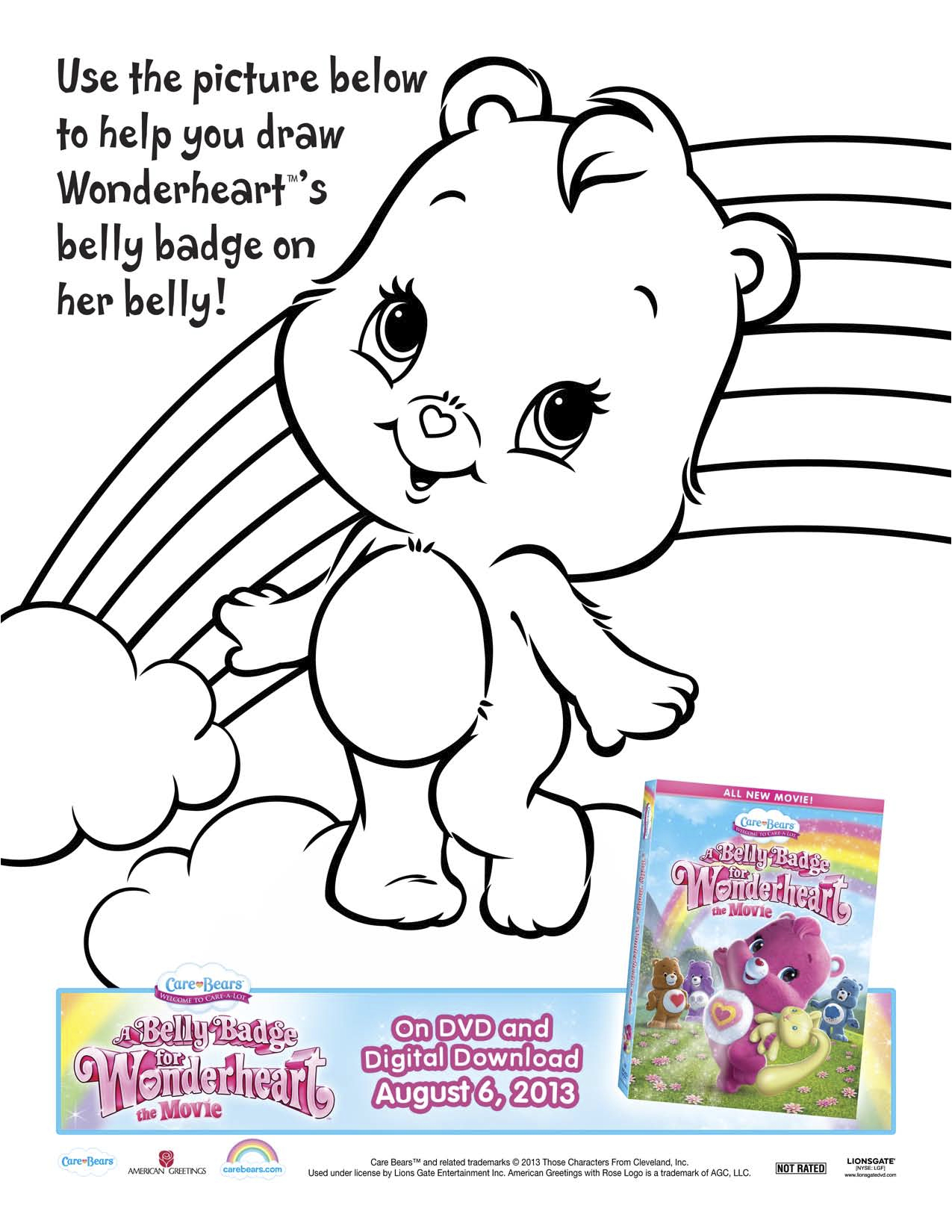 Care Bears A Belly Badge For Wonderheart Printable Coloring Page Mama Likes This