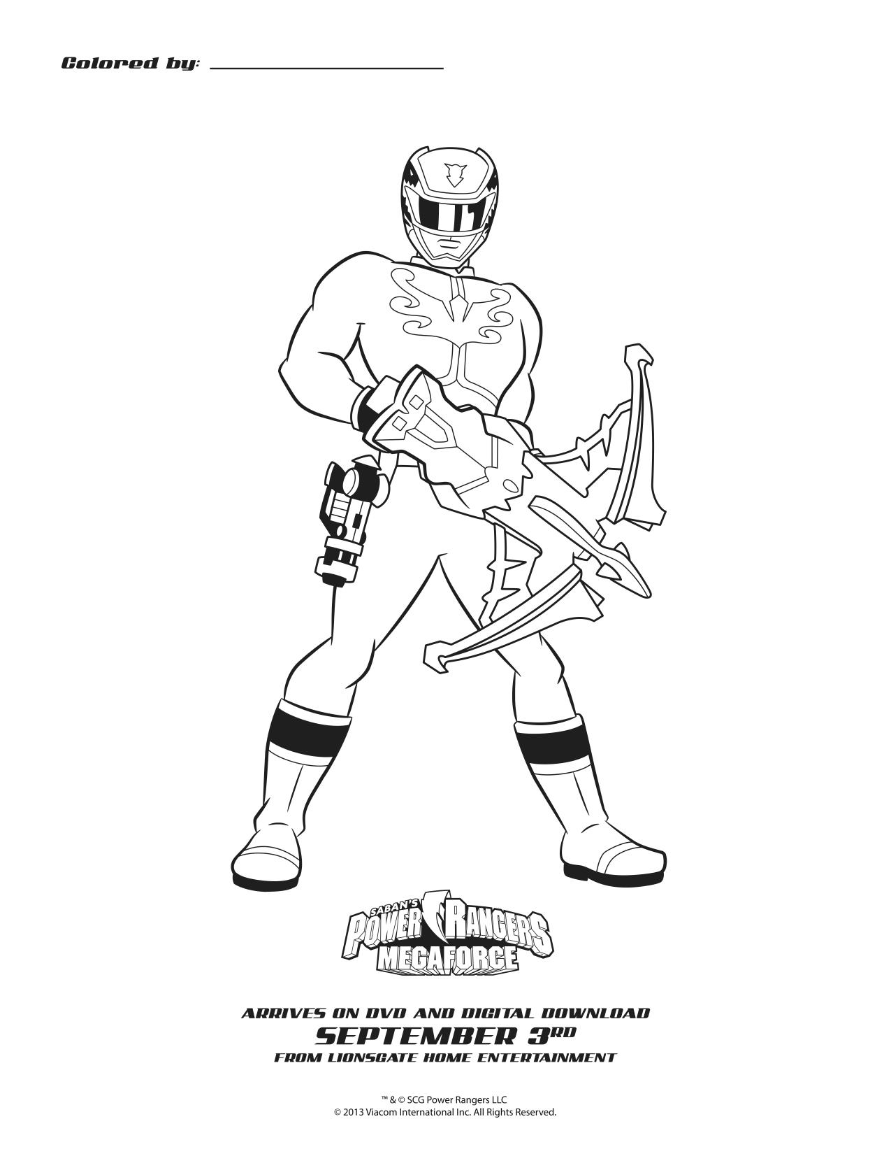 Power Rangers Megaforce Blue Ranger Printable Coloring