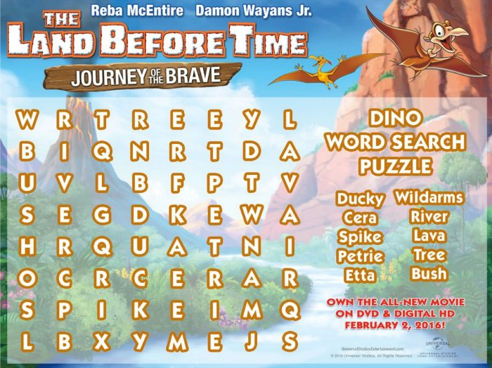 Land Before Time Dino Word Search Puzzle Mama Likes This
