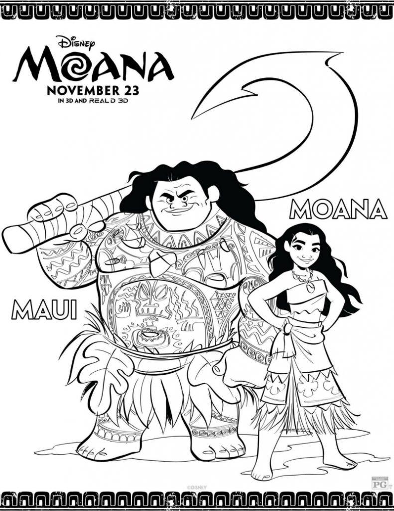 Disney Maui And Moana Coloring Page Mama Likes This