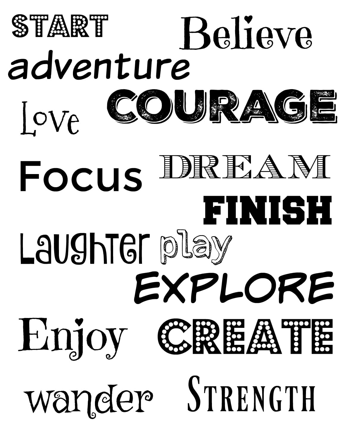 Vision Board Inspiration And Free Printable Words