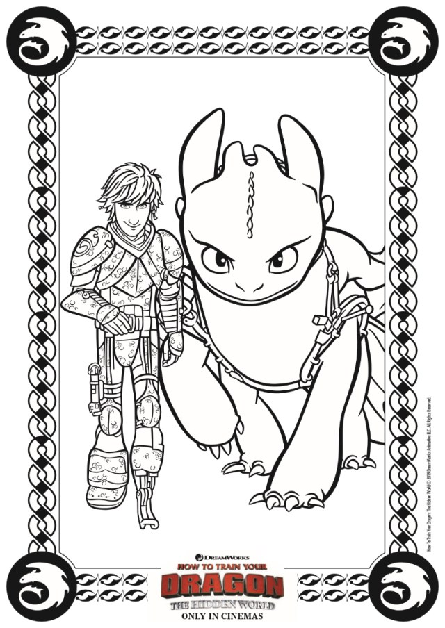 Hiccup and Toothless Coloring Page from HTTYD 17 - Mama Likes This