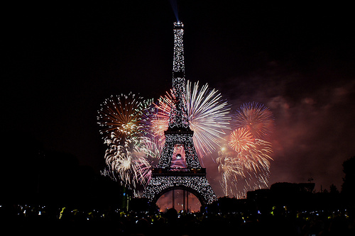 Bastille Day - Eiffel Tower Fireworks in Paris Video