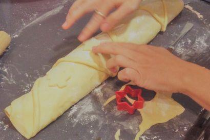 Adornando el pan de jamón