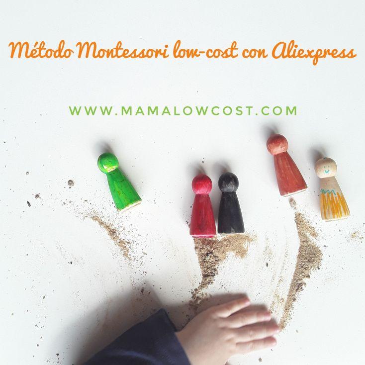 Montessori low-cost. Victoria colocando arena para la foto,lo cual no estaba planificado