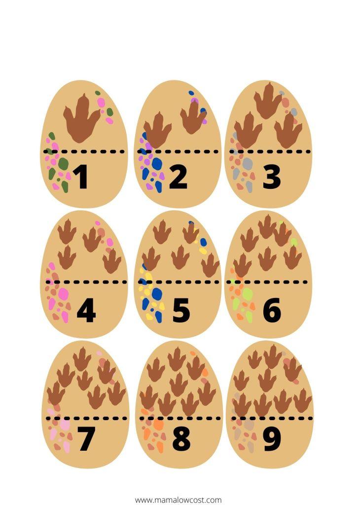 Huevos dinosaurio para contar