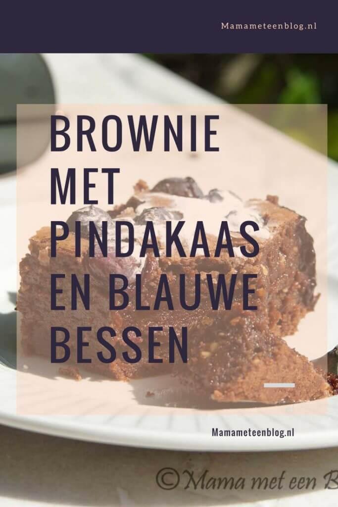 Brownie met Pindakaas en blauwe bessen mamameteenblog.nl