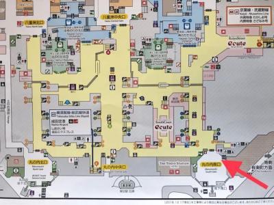 ポケモンスタンプラリー2019の東京駅のスタンプ設置場所の地図