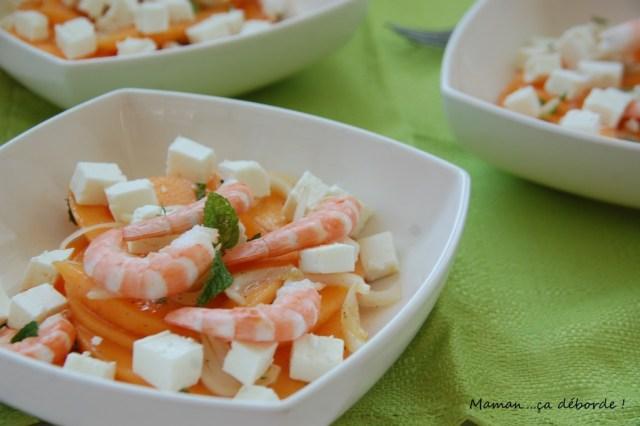 salade melon, feta et crevettes1