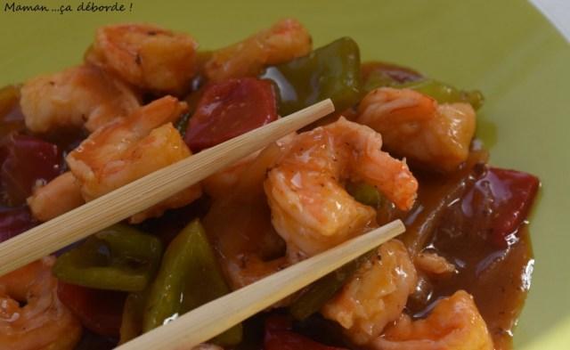 Crevettes sauce aigre douce