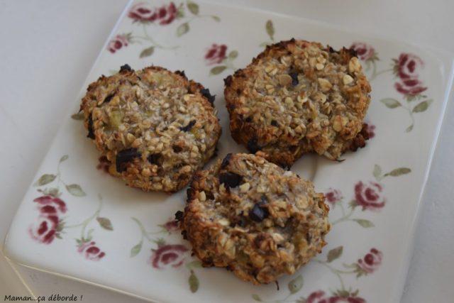 Cookies à la banane, flocons d'avoine et coco