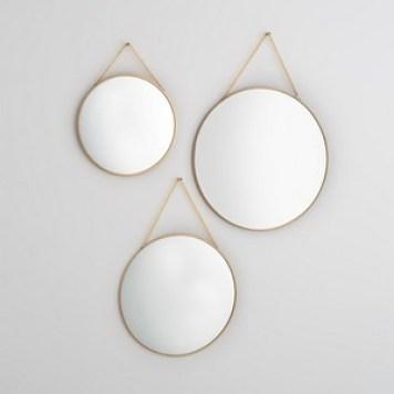 Miroirs ronds dorés, NÉO (lot de 3)