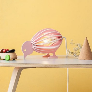 Lampe à poser en bois Zooo Oiseau rose