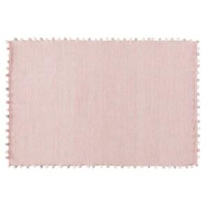 Tapis à pompons en coton rose
