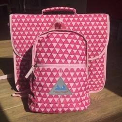 cartable et sac triangles roses