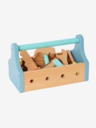 Caisse à outils portable en bois - bleu