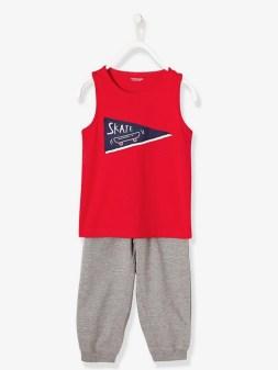 Pyjama sarouel garçon bi-matière - rouge