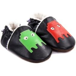 Chaussons bébé fourrés en cuir Fantômes