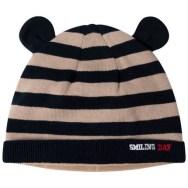 Bonnet en tricot à rayures jacquard et oreilles en relief