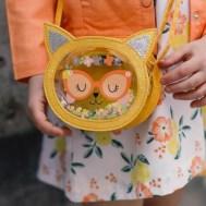Sac rond transparent à paillettes motif chat
