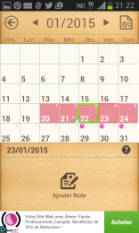 Mon calendrier - visualisation du cycle
