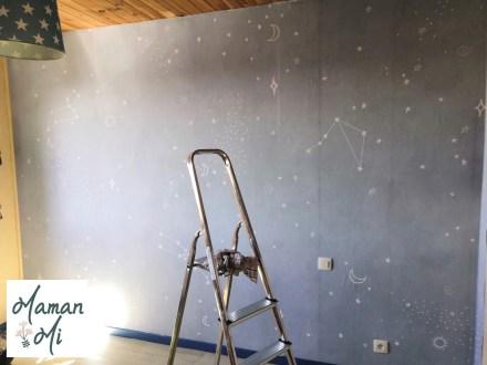 papier peint bleu étoiles chambre enfant
