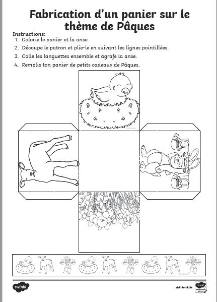 fabriquer petit panier paques en papier