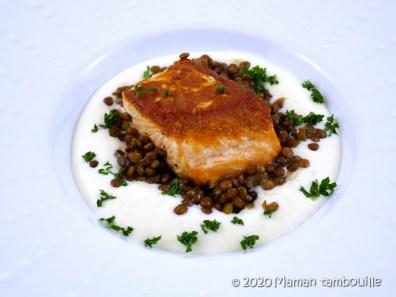 saumon grillé mousse celeri lentilles20