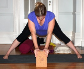 wide leg forward bend prenatal yoga