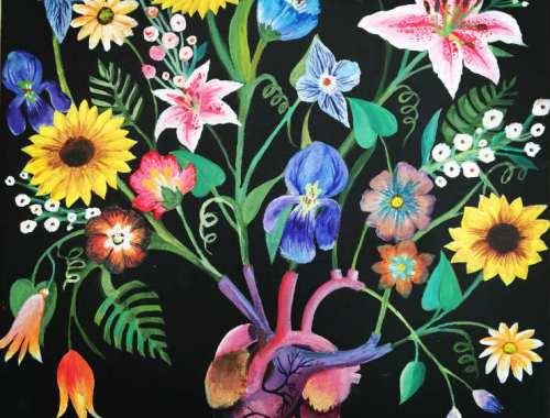 MAMANUSHKA.COM    Two Hearts    Teaching About Own True Self   Painting By Zarina Teli