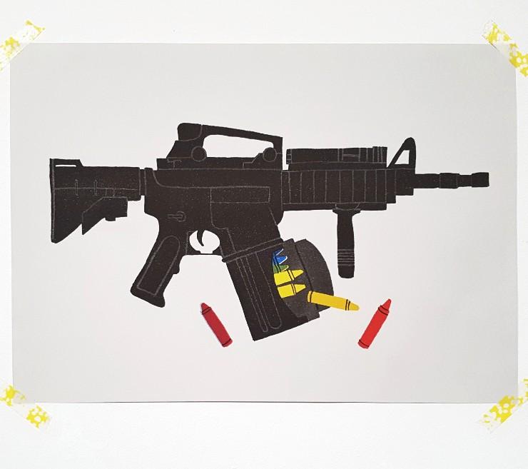 MAMANUSHKA.com || Kids and Guns || School Shootings || Screenprint || Art by Adot Ellison