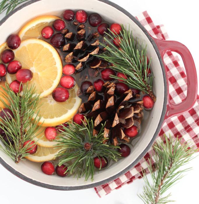 déco de Noël naturelle à faire soi-même : le pot pourri pomme de pin, canneberge, citron