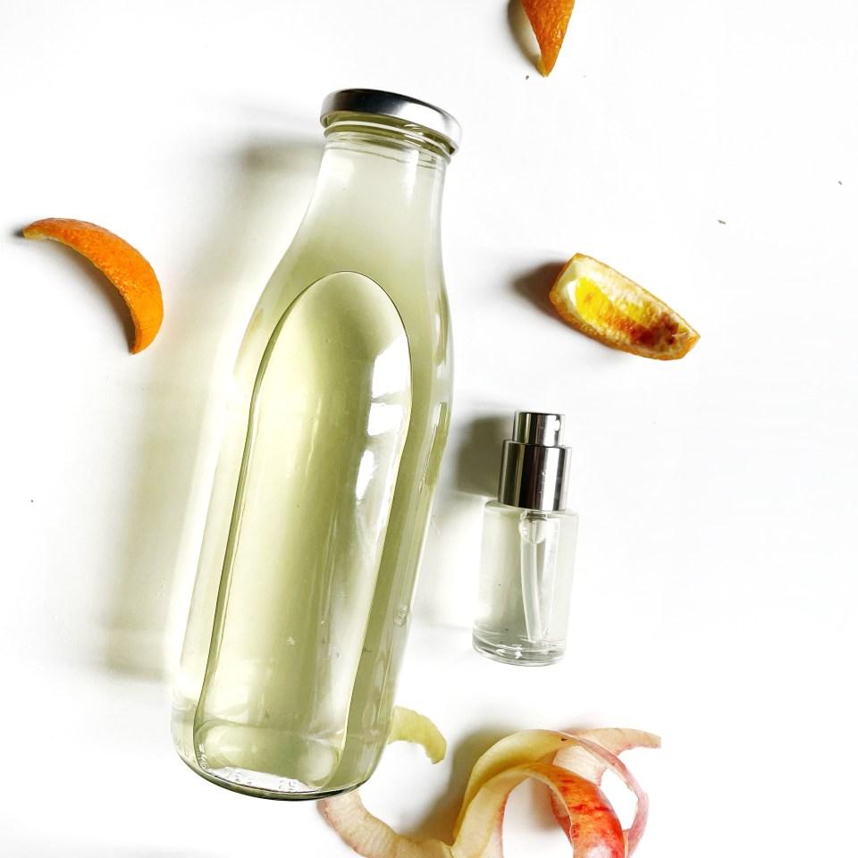 lotion home made tonifiante et rafraîchissante aux épluchures de pomme et écorce d'orange