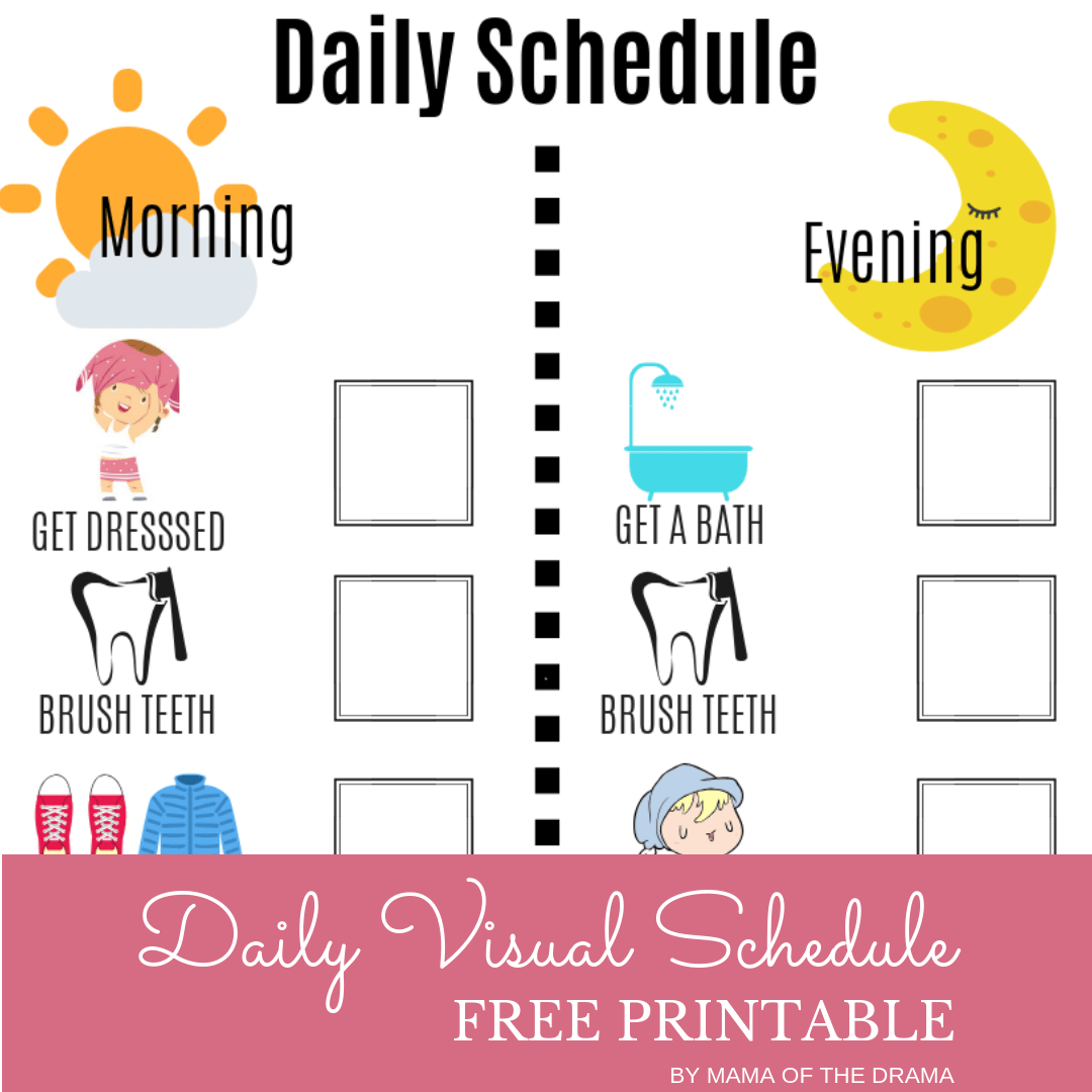 picture relating to Free Printable Visual Schedule for Home called Visible Everyday Routine Totally free Printable Mama of the Drama