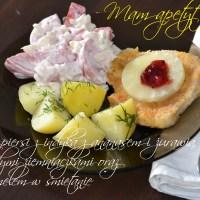 Filet z piersi z indyka z ananasem i żurawiną, z młodymi ziemniaczkami oraz gargamelem w śmietanie