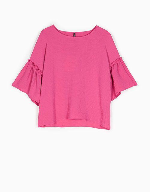 blusa volante rosa