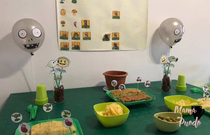 decoración cumple plantas vs zombies