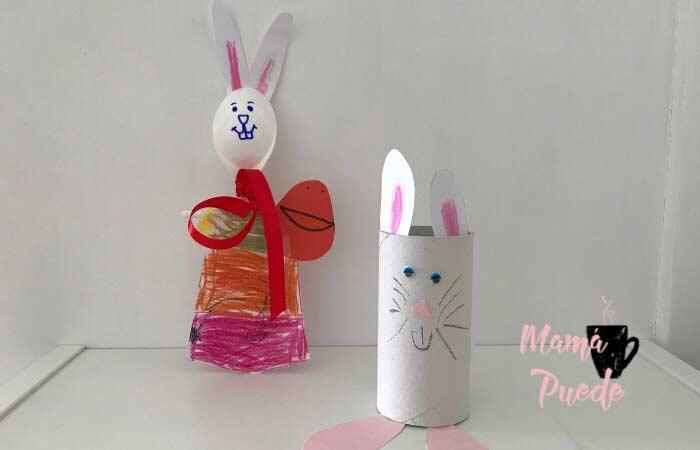 conejos de pascua con rollos de papel