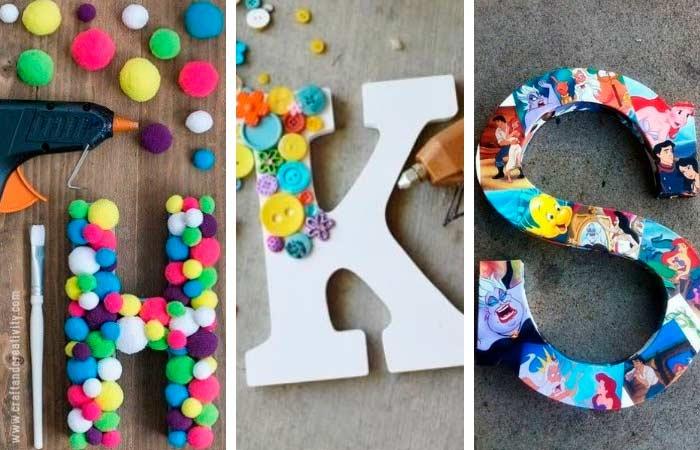 letras decoradas por niños