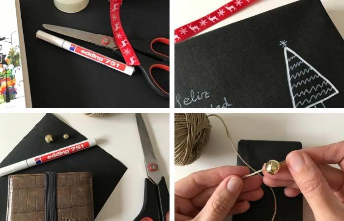 envoltorio regalos con papel negro