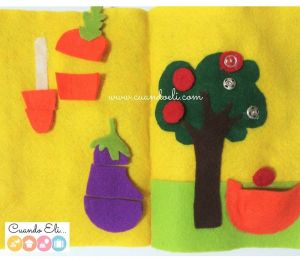 Frutas y Vegetales: Botones y Rompecabezas (Páginas Quiet Book)